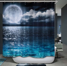 Moon Water Reflection Shower Curtain Tranquil Celestial Night Sky Clouds Ocean