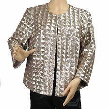 Women's Gold Sequin Spangle Jacket Long Sleeve Top Alfani Petite PS, PXL New