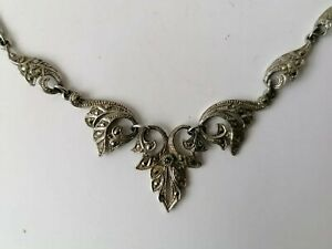 Vintage Art Deco Silver Tone Marcasite Necklace Panel Link Bridal Lavalier Bib