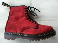 DOC DR MARTENS RED VELVET BOOTS MADE IN ENGLAND RARE VINTAGE UNISEX 6UK US:W8 M7