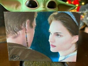Star Wars Artist Sketch Card 1/1 Padme Amidala and Anakin Artist Unknown