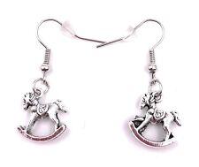 Rocking Horse Earring Ear Jewelry Pendant Silver Metal
