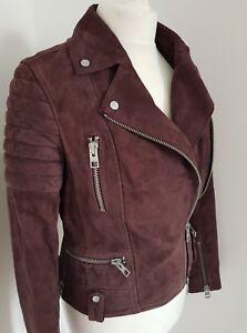 All saints Jacket Leather Huxley suede Biker UK 8 us 4 eu 36