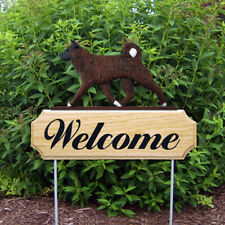 Akita Wood Welcome Outdoor Sign Brindle