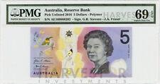 2016 AUSTRALIA $5 POLYMER BANKNOTE - CERTIFIED PMG 69 EPQ - SUPERB GEM UNC - NEW
