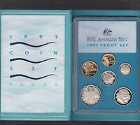 1993 Australia Proof Coin Set in Folder with outer Box & Certificate *