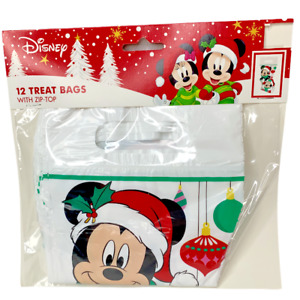 Disney Mickey Minnie Mouse 12 Treat Bags Zip Top Stocking Shape Christmas New