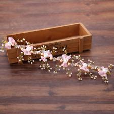 Women Crystal White Rose Flower Pink Bowknot Wedding Bridal Hair Band Headband