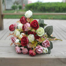 2 Bouquets 42 Head Artifical Rose Silk Flower Bouquet Home Wedding Decor pretty-