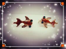 Funny Goldfish Earrings,Fish,Cute,Stud,Pierced,Gift Idea,Goldfish,Unisex,Fun