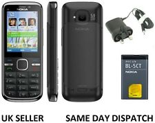 New Condition Nokia Brand C5-00 Black 5MP Bluetooth FM Radio 3G Unlocked Phone