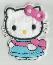 HELLO KITTY chat robe bleue écusson / patch 6.5X6.5 cm