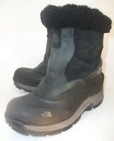 The North Face Womens Boots Mid-Calf US 6 Black Leather Suede Zip-Up Snow Winter