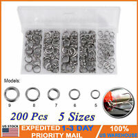 200 PCS Fishing Solid Stainless Steel Snap Split Ring Lure Tackle Connector New