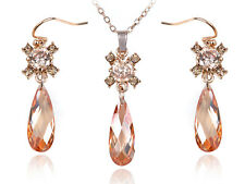 Crystal Elements Synthetic Topaz Burst Teardrop Cut Stone Necklace Earring Set