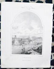 Lithographie XIX ème - Le Port de Marseille - Eugène Cicéri - E. Isabey