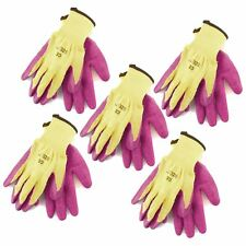 "7"" Builders Protective Gardening DIY Latex Rubber Coated Work Gloves Pink x 5"