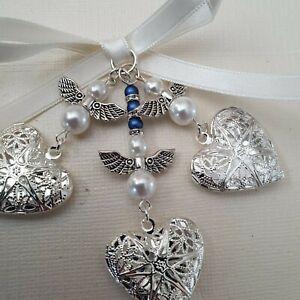 Triple Wedding Bouquet Filigree Silver Heart Locket charm angels & gift bag