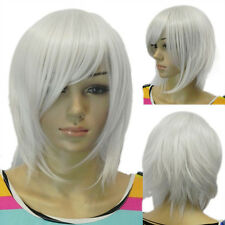 Fluffy Short Unisex Straight Silver White Heat Resistant Hair Full Cosplay Wig