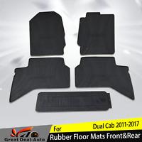 Fit For Mazda BT50 2011-2017 Black Rubber Floor Mats Set 5 Front & Rear Carpet