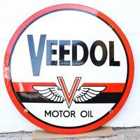 Emailschild Veedol Motor Oil ∅49,5 cm Werbung Tankstelle Oldtimer 50er Jahre
