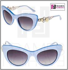 5debd20b60e Dolce   Gabbana 4302 Metal FLOWER LACE Pearl Azure Silver Cat Eye Sunglasses