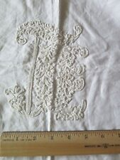 """French Antique Hand Embroidered White Cotton European Sham """"D"""" Initial~30""""Square"""