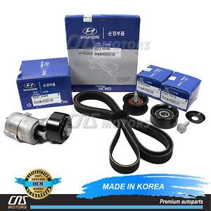 V-Belt & Tensioner & Idler Pulley Kit for 2011-2014 Hyundai Kia 2.0L 2.4L⭐⭐⭐⭐⭐