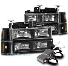 94-98 GMC C/K 1500 2500 SUBURBAN SIERRA HEADLIGHT LAMP +BUMPER+50W 8K HID BLACK
