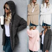 Women's Knitted Sweater Long Sleeve Hooded Cardigan Knitwear Jumper Coat Jacket