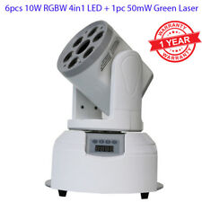 6x10w RGBW 4in1 LED + 1pc 50mW Green Laser Mini Moving Head Stage Light Party