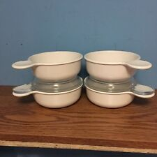 (4) CornIng Ware P-150-B Round  Grab It Bowls - (2) Clear Pyrex Lids Excellent