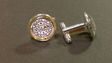 Made in England, Rubber Stamped style , glass domed cufflinks, boxed gift