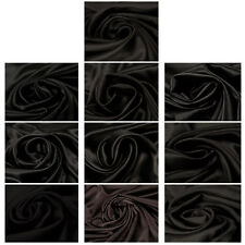 100% Silk Satin Black Luxury Quality Fabric Dress Fashion Upholstery Crafts