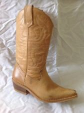 Office London Beige Mid Calf Leather Boots Size 38