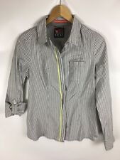 STREET ONE Bluse, Krempelärmel, Grau gestreift, Größe 36
