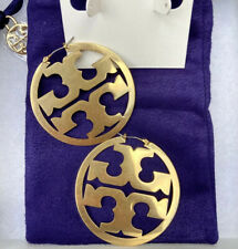 Tory Burch Gold Logo Hoop Earrings