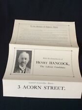 More details for political flyer henry hancock ~ labour 1925 city of leicester candidate ~ rare