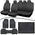 Universal Car Seat Cover+Rubber Floor Mats+Trunk Cargo Liner,Charcoal/Black?????