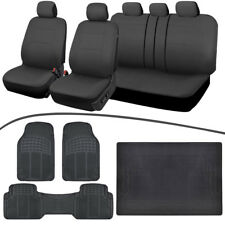 Universal Car Seat Cover, Rubber Floor Mats, Trunk Cargo Liner Charcoal/Black