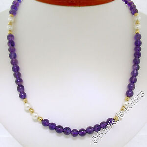 "Long 30"" 6.3mm Round Amethyst Cultured Pearl 14k Gold Bead Clasp Strand Necklace"
