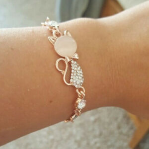 Woman Fashion Crystal Bangle Rose Gold Cat Bracelet Chain Crystal Jewelry