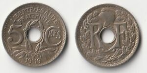 1919 France 5 centimes coin