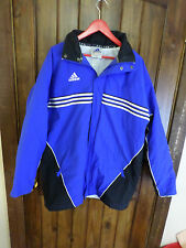 "adidas ""Soccer"" blue, black and white, full zip and snap parka, Men's M"