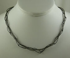 oxidized Necklace and Bracelet Sterling Silver White and