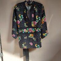 Carole Little Women's Top Split Neck Shirt Blouse Sequins Polka Floral Black XL