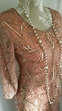 Trapunta Vintage 1920,s Stile Gatsby Corallo Rosa Oro con Perline Matrimonio Flapper dress 10