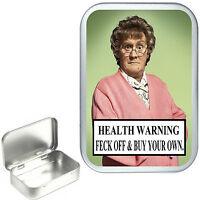 Mrs Brown.Hinged Tobacco Tin.Sewing Tin,Pill Tin, Stash Tin, Box. 1oz & 2oz