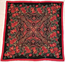 """ITALY-VINTAGE AUTHENTIC FLORAL ROSES RED GREEN BLACK FINE WOOL 45"""" SQUARE SCARF"""