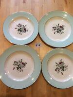 4 Vintage British Anchor Plates with Floral Decoration Pale Blue Border